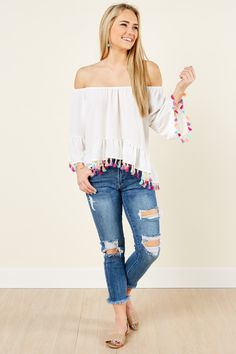 Rays Of Fun White Off The Shoulder Tassel Top at reddressboutique.com