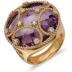 Blue Nile Amethyst and Diamond Cocktail Ring in 18k Yellow Gold ($1,958) ❤ liked on Polyvore