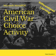 American Civil War Choice Activity Civil War Activities, Book Activities, Classroom Projects, A Classroom, American Words, Treaty Of Versailles, Newspaper Front Pages, Primary Sources, American Civil War
