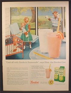 Elsie the Cow Ads Magazine | Magazine Ad For Borden's Butter Milk, Cartons, Elsie The Cow & Family ...