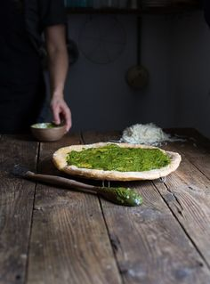 "Grain Free Pesto Flatbread for the ""My Paleo Patisserie"" cookbook, coming October Breakfast And Brunch, Quiche, Green Pizza, Pizza Wraps, Sweet Home, Flatbread Recipes, Mouth Watering Food, Food Design, Food Pictures"
