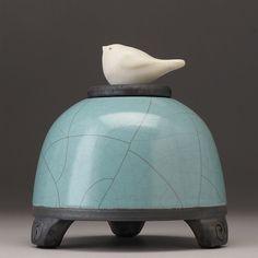Ceramic  Bird Jar  turquoise greenArt potteryraku by DavisVachon, $98.00