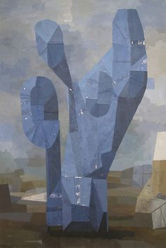 Whiting Tennis  Blue Cactus, 2011  acrylic and collage on canvas  64 x 44 inches