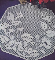 Vintage Crochet Pattern Morning Glory Filet Doily Motif
