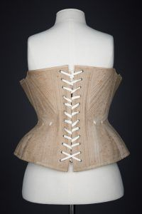 Ecru Cotton Twill Corset With Gores & White Flossing Embroidery, c. The Underpinnings Museum. Photography by Tigz Rice. Museum Photography, Museum Collection, Corsets, Britain, Underwear, Rice, Embroidery, Cotton, Women