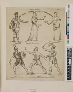 DRAFT. Plate 1; six characters in various atittudes: Haufray, Empress Belisanta, Blandiman, Valentine, Orson and Henry; plate for a toy theatre based on an 1812 production.  1812 Etching