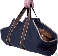 Canvas Log Carrier / Tote - Wood Carrier Bag - Firewood Tote - Fire Log Carrier with Comfortable Padded Handles, Closed Ends Keep Debris Off Your Floor - Make Less Trips Out in the Cold Carrier Bag Holder, Portable Fireplace, Firewood Logs, Firewood Storage, Firewood Holder, Log Carrier, Fireplace Logs, Fireplaces, Modern Fireplace
