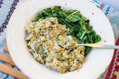 Mustard mushroom zucchini risotto (serves 1 depending on sides) Vegan Mushroom Risotto, Soy Protein Powder, Buckwheat Recipes, Second Breakfast, Smoothie Bowl, Vegan Gluten Free, Fried Rice, Zucchini, Mustard