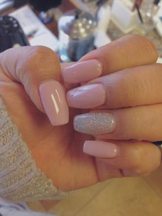 ::Coffin nails:: mauve pink with glitter