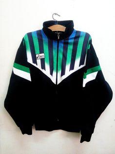 Sale Vintage 90s Asics Neon Techno Track Top Big Logo Swag Hip hop Rap Sport…