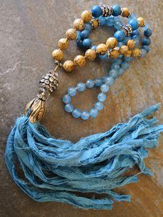 Gorgeous blue necklace Sari silk tassel Semi precious beads