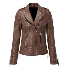 Leather Gallery Womens Lambskin Genuine Brown Leather Jacket Slim Fit Biker Motorcycle Coat - M