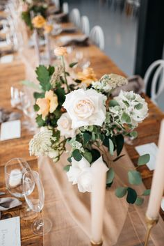 Lush green, white and mustard for wedding table flowers. Wedding Table Flowers, Lush Green, Green Flowers, Mustard, Lily, Table Decorations, Bride, Home Decor, Wedding Bride