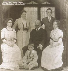 Louis of Battenberg and family: Princess Alice (mother to Prince Philip), Princess Alice (granddaughter of Queen Victoria), Prince George (later Marquis of Milford Haven), Princess Louise (later Queen Louise of Sweden) and Prince Louis (later Lord Mountbatten of Burma)