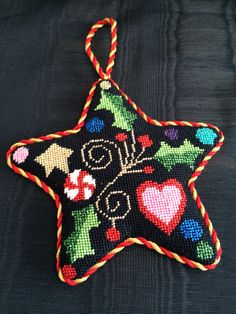 Fun needlepoint star ornament