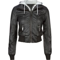 Images of Womens Black Leather Jacket With Hood - Reikian