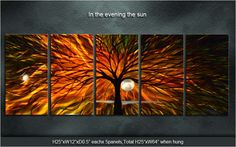 """Original Metal Wall Art Modern Painting Sculpture Indoor Outdoor Decor """"In the evening the sun"""" by Ning. nice"""