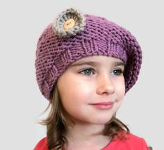 Crochet Hat Knitted  Hand Knit Hat For Girls Purple by skeinofwool. www.etsy.com/listing/221502388