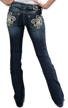 Miss Me Women's Dark Wash Leather Fleur w/ Flowers, Studs and Crystal Open Pocket Boot Cut Jean