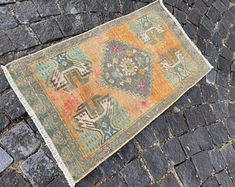 Turkish rug Vintage rug Handmade rug Oushak rug by DRNRUGS Boho Decor, Bohemian Rug, Soft Rugs, Decorative Rugs, Entryway Rug, Geometric Rug, Hand Knotted Rugs, Handmade Rugs, Oriental Rug