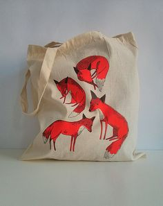 Hey, I found this really awesome Etsy listing at http://www.etsy.com/listing/161267452/foxes-hand-screen-printed-tote-bag