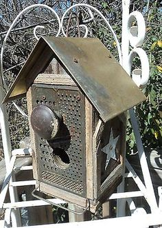 +primitive+handcrafted+birdhouses | rustic primitive folk art hand crafted bird house brass roof