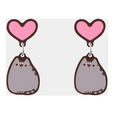 Pusheen Heart stud earrings ($8.99) ❤ liked on Polyvore featuring jewelry, earrings, cat, accessories, cat jewelry, earring jewelry, stud earrings, pusheen and heart jewelry