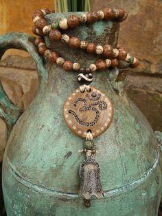 MEDITATION BELL OM necklace beige yoga jewelry bohemian gypsy hippie hand made jewelry