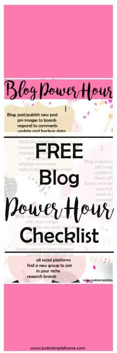 Power Hour Checklist for bloggers! Learn to stay focused on the most important tasks as a blogger. Those tasks that will help you reach your goals and stay focused. You can get all this done in just an hour a day! Print out, and follow daily.