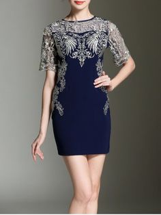 ee74fca8 #reallycute Embroidery See Through Sheath Dress Dress P, Sheath Dress,  Bodycon Dress,