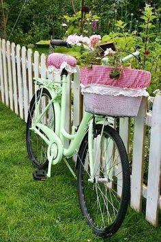 Vintage Bike girly cute vintage flowers bike pastel basket