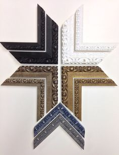"""New picture frame samples from the Roma Moulding's """"Simply Roma Vintage Collection"""" for custom framing."""