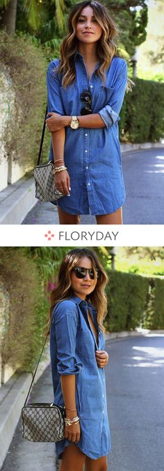 Denim dress, lovely outfits. Solid Collar 3/4 Sleeves Shift Dress