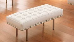 Leather bench with white design