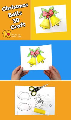 Christmas Bells Craft Christmas Bells Craft Christmas Bells Craft 10 Minutes of Quality Time - Crafts for Kids - Christmas Activities, Christmas Crafts For Kids, Christmas Themes, Holiday Crafts, Christmas Paper, Christmas Bells, Crochet Christmas, Christmas Angels, Art Drawings For Kids