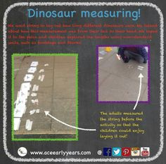 How long are dinosaurs?! We used the interest in dinosaurs to investigate measuring and specifically length! #eyfs #eyfsteacher #eyfsideas #earlyyears #earlyyearsteacher #earlyyearsideas #earlyyearsmaths #dinosaurplay #dinosaur #dinosaurs #dinosaureggs #aceearlyyears