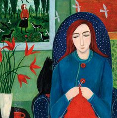 'In Her Own World' By Painter Dee Nickerson. Blank Art Cards By Green Pebble. www.greenpebble.co.uk