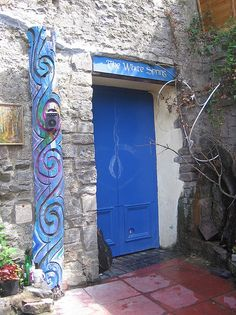 White Spring, Glastonbury    The door, and a spiral carving
