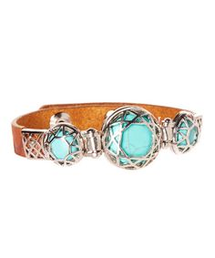 Tan & Turquoise Three-Stone Leather Bracelet by I Love Accessories #zulily #zulilyfinds