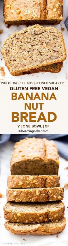 One Bowl Vegan Gluten Free Banana Nut Bread (V, GF, DF): an easy recipe for perfectly moist banana bread packed with walnuts and bursting with banana flavor! #Vegan #GlutenFree #OatFlour #DairyFree | http://BeamingBaker.com