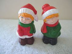 Vintage Little Boy & Girl Christmas / Winter Themed Salt & Pepper Shaker Set #vintage #collectibles #home #kitchen