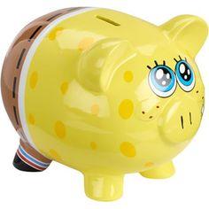 Sponge Bob Piggy Bank - Piggy Banks - Ideas of Piggy Banks Pottery Place, Pig Bank, Penny Bank, Personalized Piggy Bank, Paint Your Own Pottery, Cute Piggies, Vinyl Quotes, This Little Piggy, Money Box