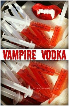 vodka Vampire Vodka - a trick AND a treat! It's a frighteningly delicious Halloween party cocktail idea from the Scary Mommy Recipe Box! Halloween Cocktails, Halloween Snacks, Comida De Halloween Ideas, Adornos Halloween, Halloween Tags, Halloween Vampire, Halloween Dinner, Halloween Food For Party, Halloween Birthday