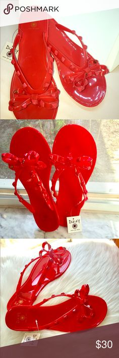 Sandals These cherry red Jelly sandals are the must have for this Spring season. Great to wear with sundresses or even your skinny jeans. Dizzy Shoes Sandals