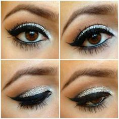 Shimmering Silver Eyeshadow Black Eyeliner