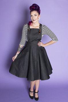 "TOBS Original ""Thread & Mitre"" Collection Denim Overall Flare Skirt Jumper"