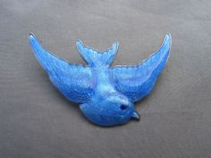 STERLING SILVER & GUILLOCHE ENAMEL BLUEBIRD BROOCH, CIRCA 1920 | eBay, £120.00
