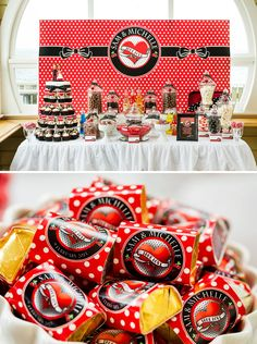 Red, Black & White Rockabilly Wedding Ideas: paper flower and feather bouquet, strike a pose photo booth, cherry inspired candy buffet & custom cake topper. Pin Up Party, Party Time, Rock And Roll, Rockabilly Wedding, Rockabilly Ideas, White Baby Showers, White Shower, Feather Bouquet, Red And White Weddings