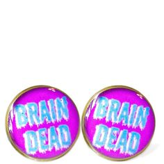Drippy Brain Dead Kawaii Stud Earrings - Soft Grunge Pastel Goth Insult Heart Pop Culture Jewelry ($10) found on Polyvore
