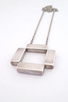 Georg Jensen, Denmark - large square vintage pendant necklace #379 - Astrid Fog